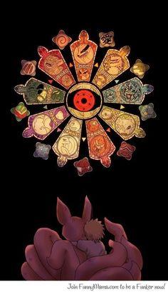 Shukaku, Matatabi, Isobu, Son Goku, Kokuo, Saiken, Chomei, Gyuki, Kurama, Gaara, Yugito Nii, Yagura, Roshi, Han, Utakata, Fu, Bee, & Naruto Uzumaki: