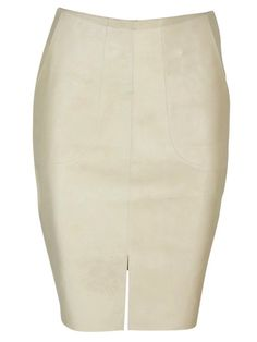 100% cow's leather Fitted pencil skirt Knee length Cotton lined 10cm split at centre front Hip pockets Raw edge finish Model wears size: 1