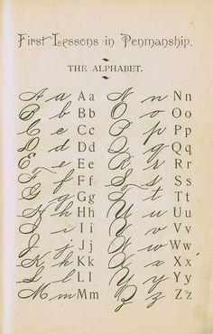 1895 School Primer Penmanship Page with cursive alphabet Alphabet A, Calligraphy Alphabet, Cursive Fonts Alphabet, Old Calligraphy, Handwritten Letters, How To Learn Calligraphy, Copperplate Calligraphy, Handwriting Worksheets, Letters In Cursive