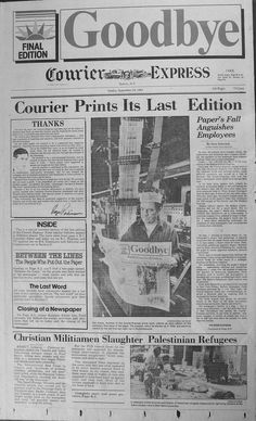"""The Last Edition of the Courier-Express September 1982 - """"the morning paper"""""""