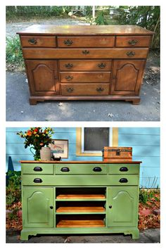 Heir and Space: A Vintage Hutch Turned Media Console