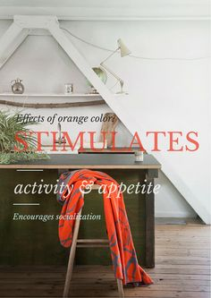 Effects of orange color: Stimulates activity Stimulates appetite Encourages socialization http://www.fabgoose.com/shop/organic_cotton_blankets_and_throws/throw-blanket-mist-grey-orange-organic-cotton/