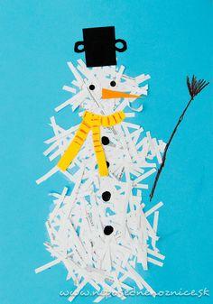Snehuliak zo skartovaného papiera   Neposedné nožnice