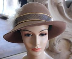 Vintage Brown Tilt Brim Hat With Feathers NOS New Old Stock Mr. John Classic #Dress
