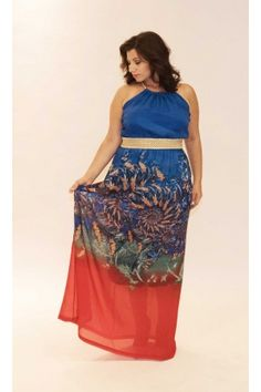 69d5e348983f Καταπληκτικό #PlusSize maxi φόρεμα μουσελίνα για εντυπωσιακές εμφανίσεις σε  super τιμή -40%!