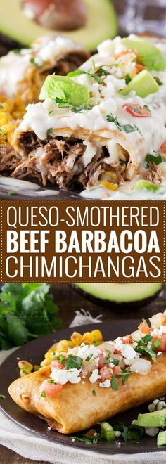 Queso Smothered Beef Barbacoa Chimichangas  Spicy, slow cooked beef barbacoa stuffed into a tortilla and fried to crunchy perfection, smothered in a velvety smooth white queso... perfect chimichangas!   http://thechunkychef.com