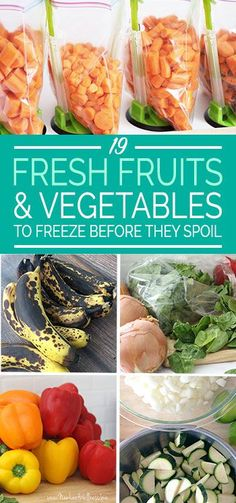 Wondering which fruits and vegetables you can freeze? Check out this helpful list of 19 fresh fruits and vegetables to freeze before they spoil. Freezing Fruit, Freezing Vegetables, Fresh Fruits And Vegetables, Frozen Vegetables, Frozen Meals, Frozen Fruit, Real Food Recipes, Healthy Recipes, Fruit Recipes
