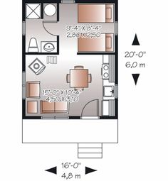 Cottage Style House Plan - 1 Beds 1 Baths 320 Sq/Ft Plan #23-2287 Floor Plan - Main Floor Plan - Houseplans.com