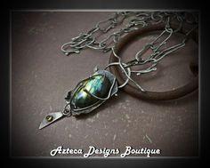 Tranquility~ Labradorite Citrine Fused Argentium Silver Artisan Necklace by AztecaDesignsBoutique, $260.00 USD
