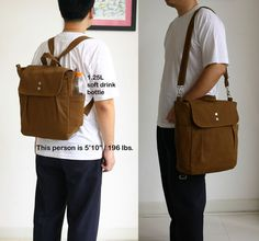 SALE  Convertible Backpack / Rucksack in Brown / von ickadybag