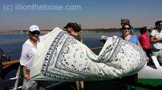 Tablecloth Shopping via Boat in Esna, Egypt