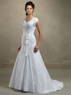 1bbf475f40 Buy Trumpet V-Neck Sweep Train Taffeta Modest Wedding Dress (001-0124-