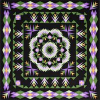 Dreamscape Quilt Pattern by Lockwood Enterprises at KayeWood.com. Dreamscape looks more challenging than it really is, Although the center is made up of diamonds sewn together to create diamond blocks, similar to a broken star quilt, it is the coloration and placement of the diamond pieces that create the central floral burst. http://www.kayewood.com/item/Dreamscape_Quilt_Pattern/3722 $10.00