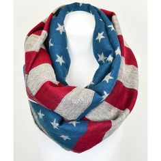 Leto Collection Red Chunky American Flag Infinity Scarf ($13) ❤ liked on Polyvore featuring accessories, scarves, red shawl, american flag infinity scarf, american flag scarves, loop scarves and red infinity scarf