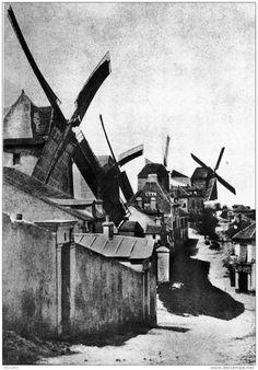 PARIS ,The windmills of Montmartre, Photo by Hippolyte Bayard. Montmartre Paris, Tour Eiffel, Old Pictures, Old Photos, Vintage Photographs, Vintage Photos, Paris France, History Of Photography, Paris Ville