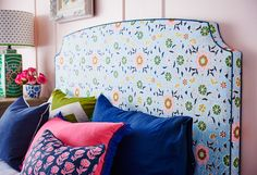 The Luella bedhead, finished in Anna Spiro's Leilani fabric is what happens when colour and pattern come together harmoniously and just sing! Anna Spiro, Custom Valances, Velvet Cushions, Bed Head, Headboards For Beds, Spare Room, Bedroom Styles, How To Make Bed, Upholstered Chairs