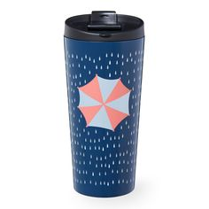 An insulating stainless steel tumbler with raindrop pattern and peach and white umbrella. Part of the Dot Collection.