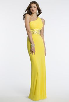 Camille La Vie Jersey One Shoulder Prom Dress in Yellow