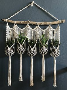 This elegant wall hanging features 5 hammocks to carry and hold your own beloved plants. -Made with 100% cotton cord at 4mm thick -Measures 51 inches long and 38 1/2 inches wide This item does not come with the glass bowls and plants pictured.