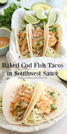 Restaurant style cod fish tacos drizzled in southwest sauce that are mouth watering delicious! This wonderful fish taco recipe was made possible by the Alaskan seafood experts at Kodiak Fish Market! Cod Fish Tacos with Sou Cod Fish Recipes, Seafood Recipes, Mexican Food Recipes, Cooking Recipes, Tilapia Recipes, Recipe For Cod Fish, Lunch Recipes, Baked Cod Recipes, Cooking Steak