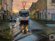 wet morning at Pokrovsk gate - Sergey Volkov (born Russia). Bus Art, Soviet Art, Paintings I Love, Russian Art, Contemporary Paintings, Art World, Moscow, Landscape Paintings, Images