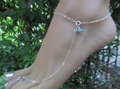 Turquoise Nugget Sterling Silver Adjustable Anklet with Toe Ring by FayWestDesigns