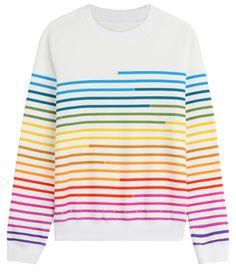 Sweat-Shirt blanc àa rayure arc en ciel, Mary Katrantzou