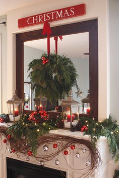Love to hang a Christmas wreath in front of a mirror. Even better with lights.