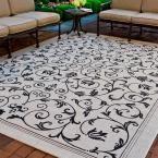 Courtyard Sand/Black (Brown/Black) 4 ft. x 5 ft. 7 in. Indoor/Outdoor Area Rug