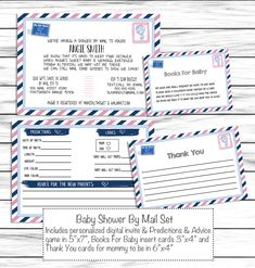 Long Distance Baby Shower Invitation, Baby Shower By Mail Set, Gender Neutral Bundle, Books For Baby, Baby Predictions Advice & Thank You Baby Shower Host, Have A Shower, Baby Shower Gifts, Invitation Set, Baby Shower Invitations, Invite, Baby Prediction, Advice Cards, Personalized Invitations