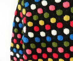 Vintage Janzten Wool Rainbow Dot Sweater / Vintage Polka Dot Sweater / Rainbow Dots Retro Sweater by thehappyforest on Etsy