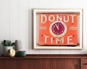 Donut Time Neon Sign Print Mid Century Modern Kitchen Decor Oakland, CA