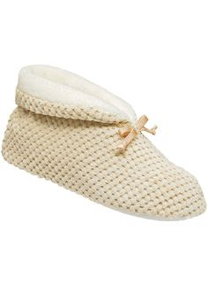 Terry slipper with soft textured upper and satin bow accent. Fully  cushioned insole 0388fd7b5ac46