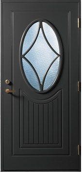 Gilje ytterdør Solveig malt kompaktlaminat. Ekstrem slitestyrke, vanntett. Sort NCSS-900N. Ovalt vindu Windows And Doors, Mirror, Dark, Home Decor, Outdoor, Outdoors, Decoration Home, Room Decor, Mirrors