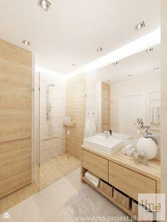 Projekt salonu z aneksem kuchennym 22 m2 i łazienki 5,2 m2. - Średnia łazienka w domu jednorodzinnym, styl nowoczesny - zdjęcie od 4ma projekt