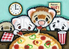Items similar to Ferret Art ACEO print - Pizza O'Clock - Shelly Mundel Art on Etsy