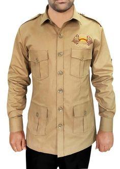 Safari with 4 pockets khaki cotton Bush Shirts African Clothing For Men, African Men Fashion, Mens Fashion, Safari Shirt, Safari Jacket, Boy Scout Uniform, Nigerian Men, Designer Suits For Men, Menswear