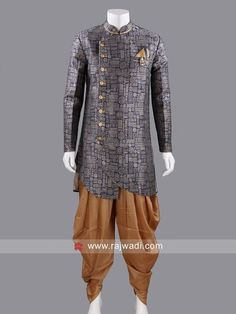 Marvelous Navy Color Indo Western With Fancy Broach Indian Groom Wear, Western Look, Navy Color, Men's Collection, Asian Fashion, Mens Suits, Menswear, Tunic Tops, Fancy