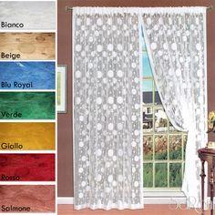 Tenda a Filo Ricamo Pois 2 Pannelli 150x280 cm Arredo Casa Divisorio Vari Colori