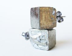 Pyrite gold earrings WILLOW by FIVEANDTWOshop on Etsy