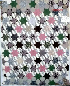 "6 Point Star & Hexagon, Ct. Quilt Search, 76"" x 86""; 1901-1929, 77 full stars, cotton, machine & hand pieced; cotton backing; binding - back turned to front; medium batting; hand quilted at 7 spi in outline, cross hatch in hexagon; inherited - Van Fleet family of Unionville, NY"