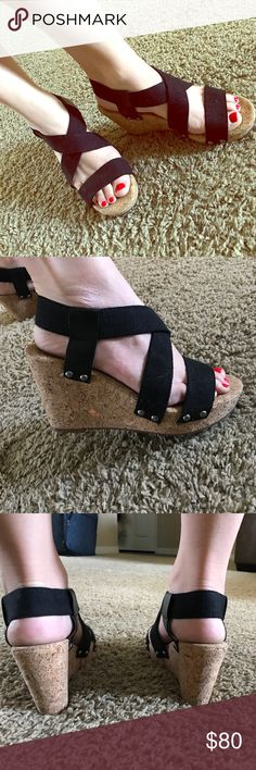 LUCKY BRAND BLACK CORK WEDGES Size 8 perfect condition lucky brand sandal wedges ! Lucky Brand Shoes