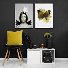 Happy Easter Posters by www.peopleoftomorrow.no // Shop unique wall art online. _ #posters #wallart #art #artprint #posterdesign #interiorposter #interior #nordichome #nordicinterior #whiteinterior #yellow #colorpop #interiordetails #interiorforinspo #darkinteriors