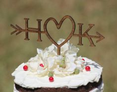 Wedding Cake Topper Personalized Cake by WoodwordDesignStudio
