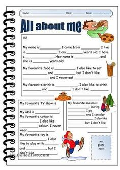 ALL ABOUT ME - English ESL Worksheets for distance learning and physical classrooms English Worksheets For Kids, English Resources, English Activities, English Lessons, Grammar Activities, French Lessons, Spanish Lessons, All About Me Printable, All About Me Worksheet