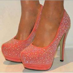 Sparkle Pink Rhinestone Sky-high Stiletto Heels