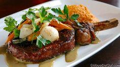 bistec a la parilla   16oz. ribeye cowboy chop · adobo marinade · sweet potato purée · baby carrots  · baby turnip · pistachio mole