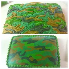 Camo cake. Picture does not link to website. I think this is how it was done: Pipe buttercream onto wax paper (top image), freeze, then transfer onto top of cake.