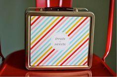 Personalized Lunch Box - Multicolored Neapolitan Stripe. $36.00, via Etsy.