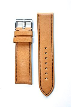 9eef9982a2d Toscana Panerai Style Heavy Tan Genuine Italian Calfskin with Brown Stitch  and Heavy Brushed S S Buckle